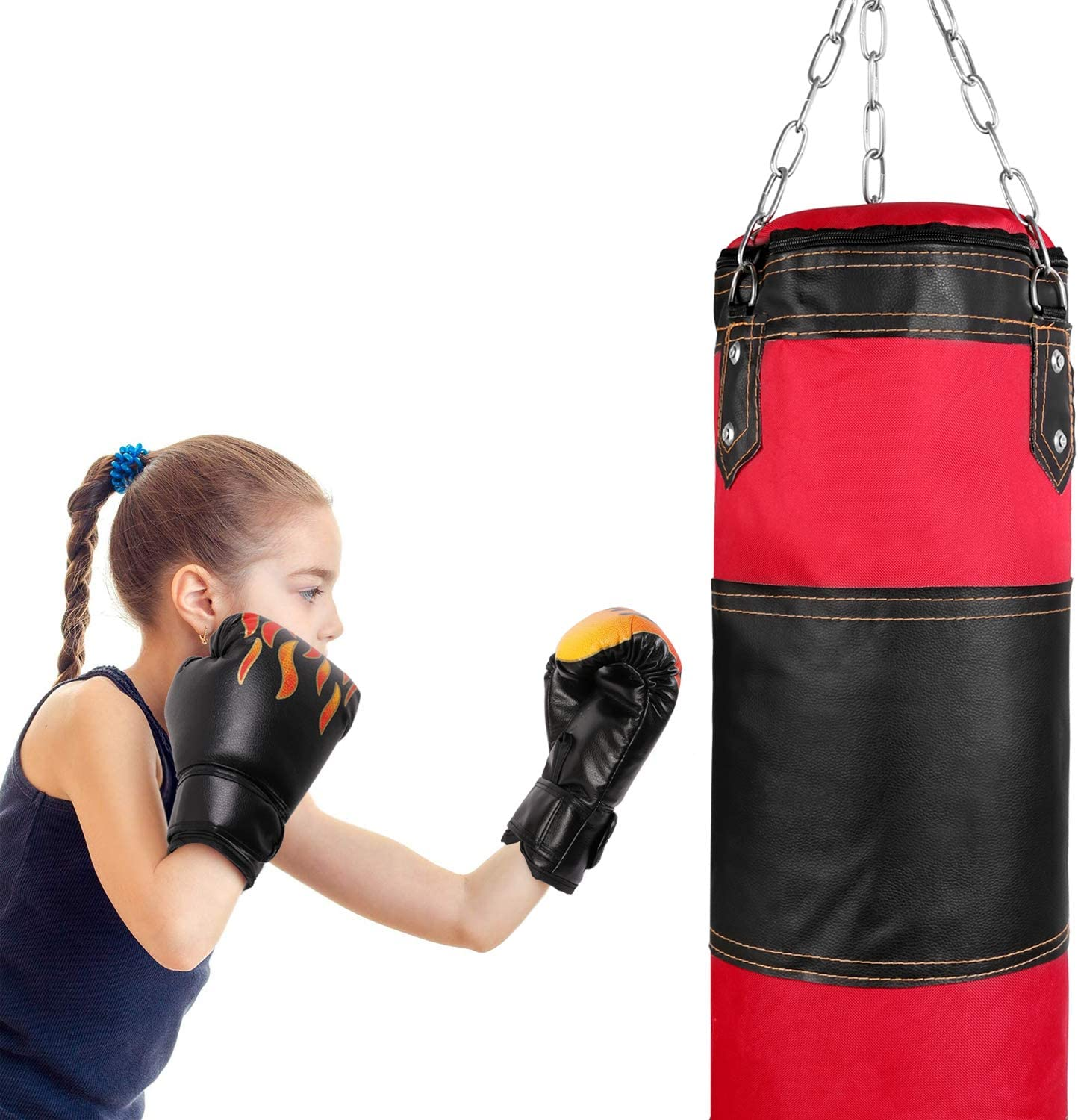 Odoland 2FT Punching Bag UNFILLED Muay Thai Heavy Bag Boxing MMA Fitness Workout Training Kick Boxing Punching Bag