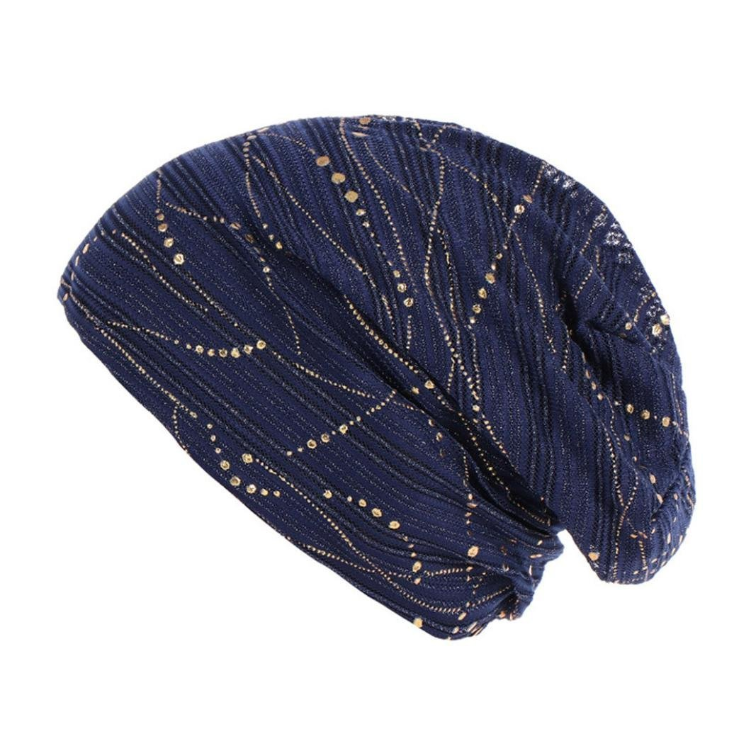 CSSD Women Solid Color Bead Muslim Hat Stretch Retro Turban Hats Easy to Carry Head Wrap Caps (Navy)