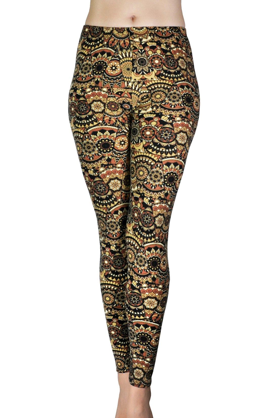 Comfy Yoga - Super Soft Printed Fashion Leggings - Slim Elastic Waistband - Colorful Fun Prints (One Size, Cocoa)
