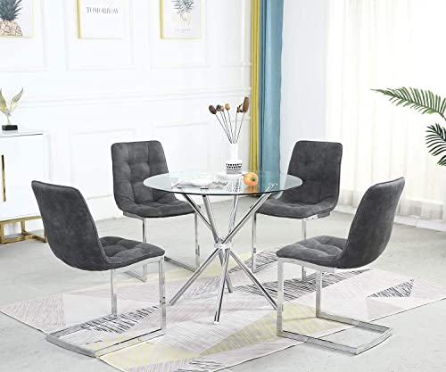 STYLIFING Dining Room Set Round Clear Glass Top Crisscrossing Chrome Metal Legs Kitchen Table and 4 Grey Micor-Suede Fabric Soft Padded Seat Chrome Legs Chairs Home Kitchen Office Waiting Room Use - the best dining room set for the money