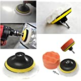 Fendior 4'' High Gross Wax Polishing Buffing Pad Kit Car Polishing Buffer Set with Drill Adapter for M10 Connector Drill