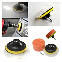 Fendior 4 High Gross Wax Polishing Buffing Pad Kit Car Polishing Buffer Set with Drill Adapter for M10 Connector Drill