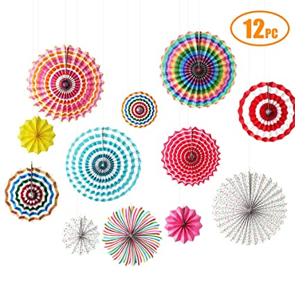 12 Paper Fan Set Mexican Fiesta//Patriotic//Wedding//Birthday//Baby Shower Party Supplies Decoration Rosettes Various Sizes