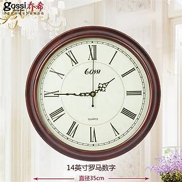 AIZIJI Reloj de Pared de Madera Modernos creativos Dibujo Sencillo Silencio Reloj Relojes de Mesa Redonda.: Amazon.es: Hogar