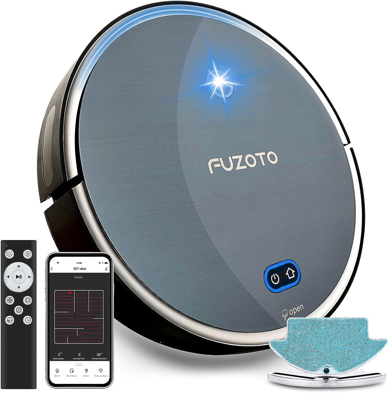 FUZOTO 로봇의 진공 청소 스마트 맵핑 1800PA 작동 ALEXA 자동적인 자기 충전 로봇의 진공 청소기를 위한 애완 동물 카펫 단단한 바닥 F8S 검정