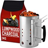 AMOS Chimney Starter 2.8kg Capacity Barbecue Quick Start + 5kg Lump Wood Charcoal