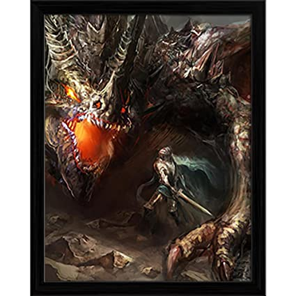 Pitaara Box Knight Fighting Dragon D2 Canvas Painting Black