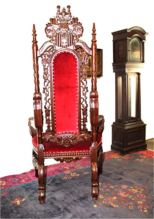 Amazon.com: The King's Bay Big Mahogany Throne Lion Chair for King - Queen  or Santa Claus Antique Red Velvet: Kitchen & Dining - Amazon.com: The King's Bay Big Mahogany Throne Lion Chair For King