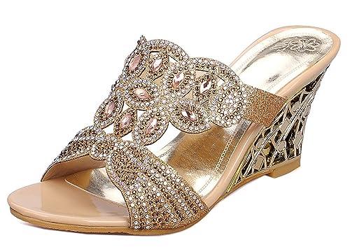 Easemax Femme Brillant Talon Compensé Strass Slip on Mules  Amazon.fr   Chaussures et Sacs 06e46382c006