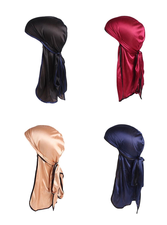 PLOVZ 4 Pack Men's Women's Silk Accent Durag Cap Headwraps Navy Wine Red and Brown) Y-37-945