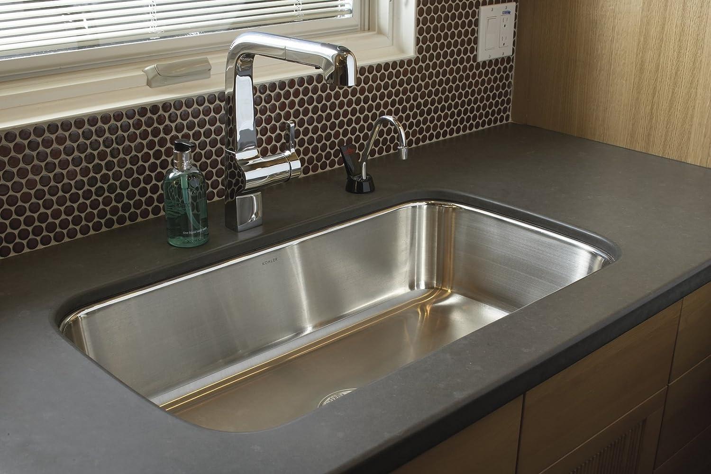 kohler k3183na undertone extralarge kitchen sink stainless steel single bowl sinks amazoncom - Kohler Kitchen Sinks