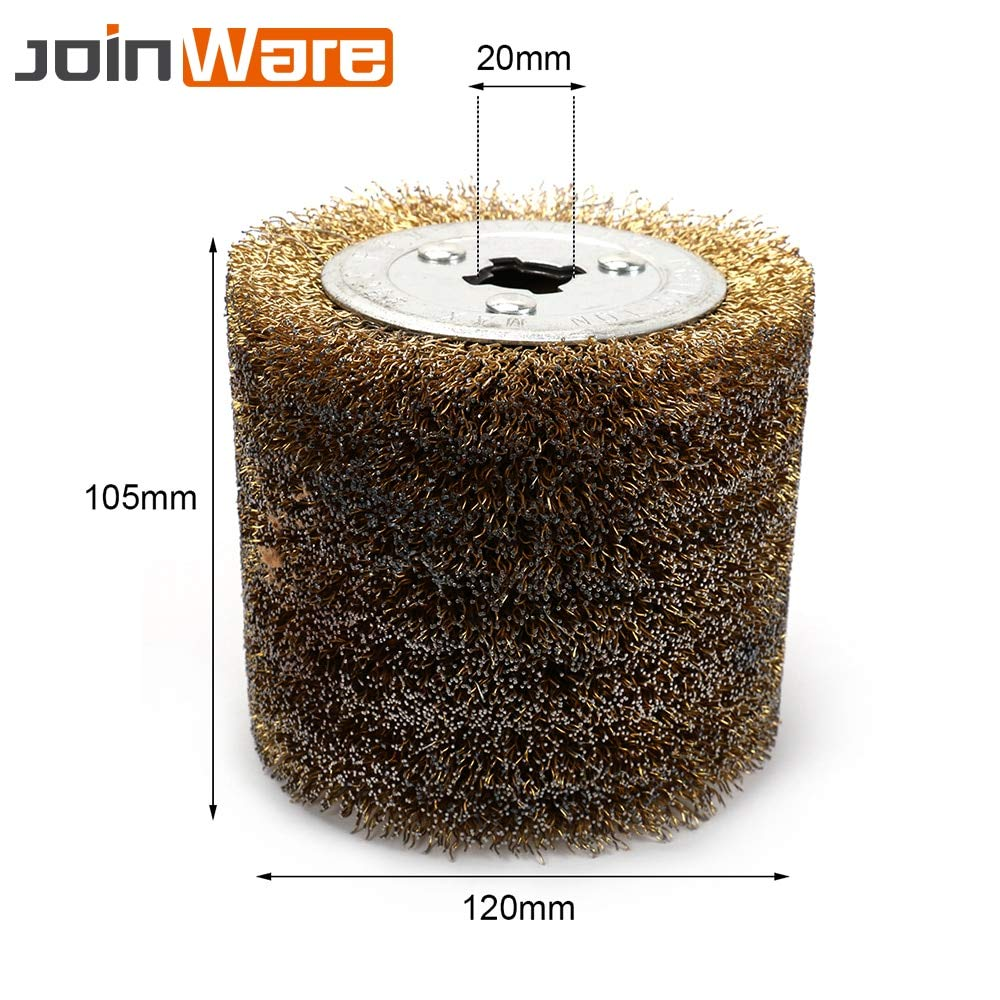 Maslin New 5 inch Dia Wire Drawing Polishing Wheel for Polisher Sander Wheel 0.15 0.3 0.5mm Wire Diameter 105mm Height 20mm Aperture - (Grit: 0.5mm Wire)