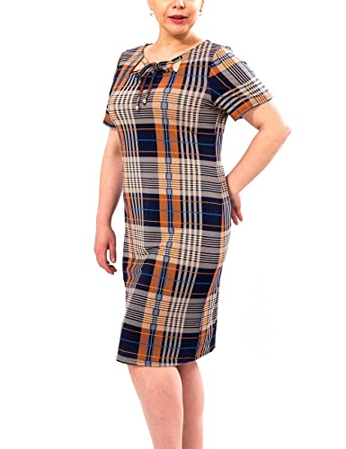 BFDADI Women's Plus Size O Neck Short-Sleeve Plaid Loose Causal Midi Dress