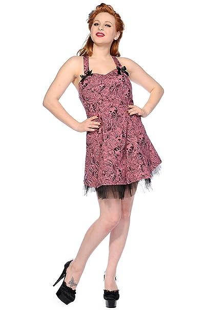 Banned Calavera y Rosas en Todo diseño de Rockabilly de impresión Mini Vestido Rosa Rosa XL