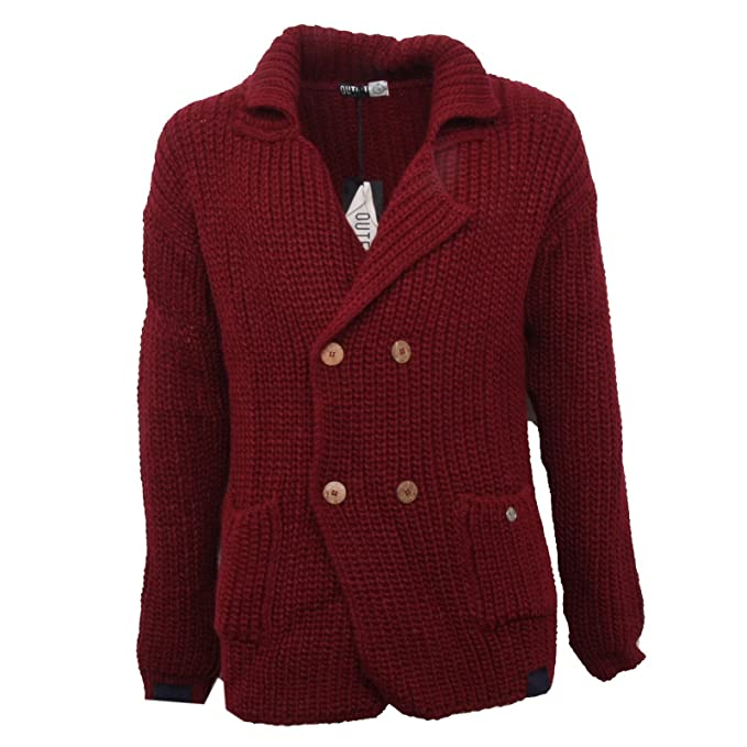 giacca uomo OUTFIT sweater ITALY B3449 cardigan maglione bordeaux ICRcwqBP 73af9320a70