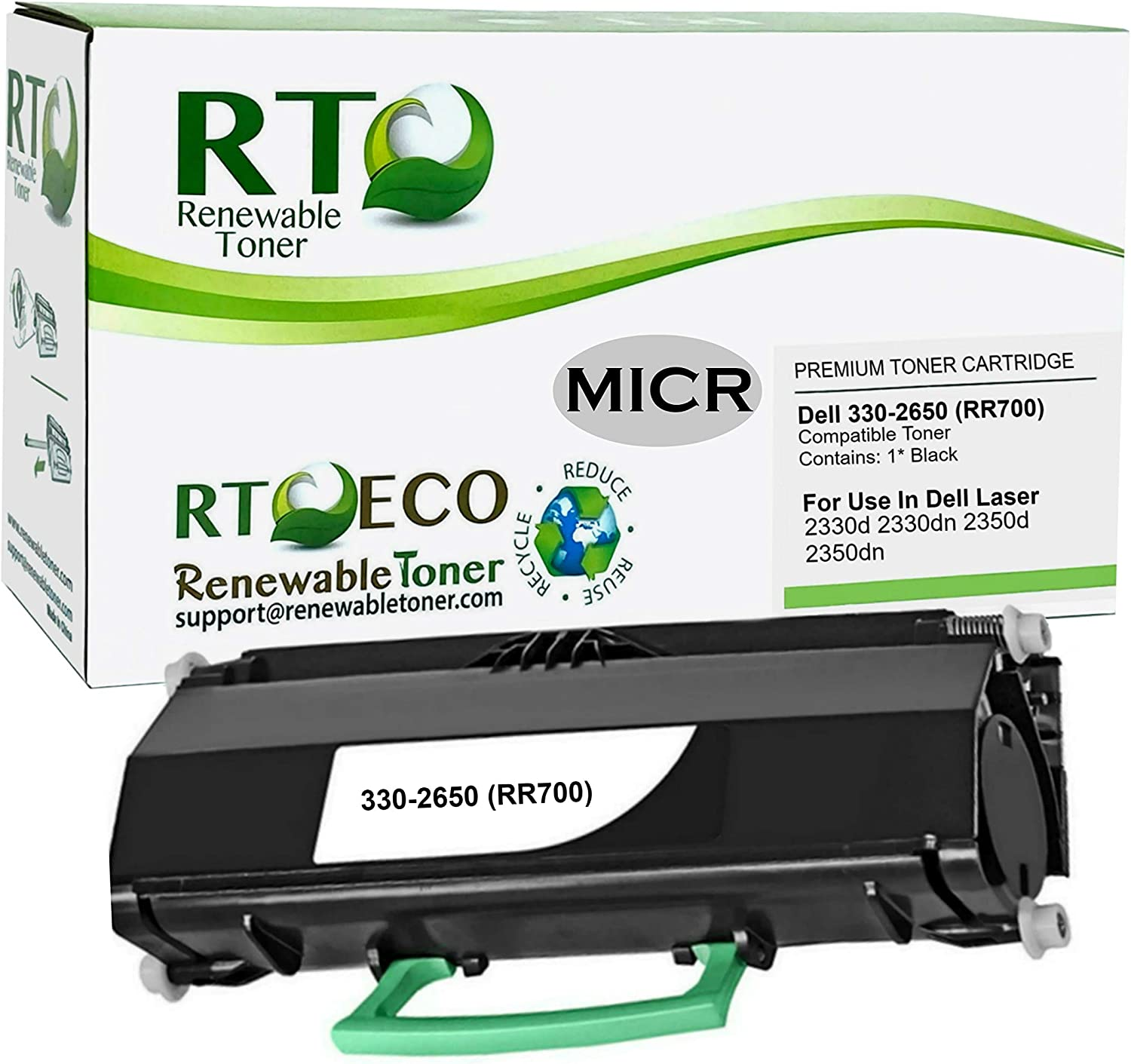Renewable Toner Compatible MICR Toner Cartridge Replacement Dell 330-2650 330-2666 330-2667 for Check Printing on 2330d 2330dn 2350d 2350dn 5340dn