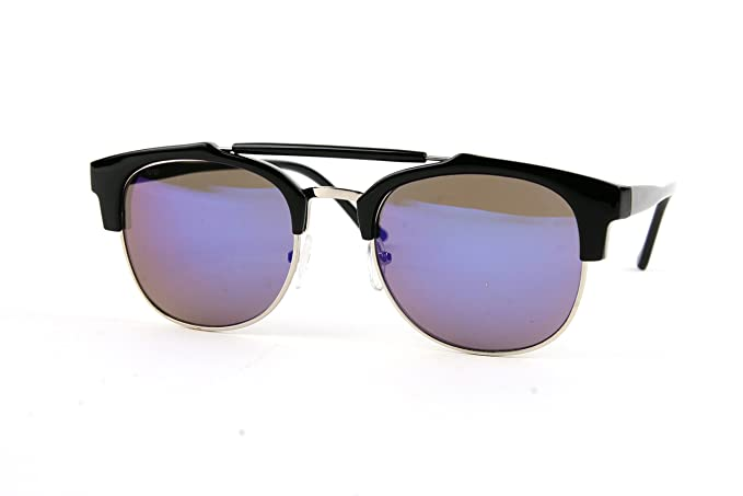 56afe1c8e4 Premium Half Frame Horn Rimmed Fashion Wayfarer Sunglasses P2193 (Black-BlueMirror  Lens)