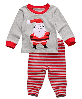 a60a563356 Amazon.com  Kids Baby Boys Girls Christmas Pajamas Set Long Sleeve Santa  Claus T-Shirt Top Striped Pants Outfit  Clothing