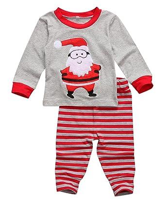 bbe5a83724 Kids Baby Boys Girls Christmas Pajamas Set Long Sleeve Santa Claus T-Shirt  Top Striped