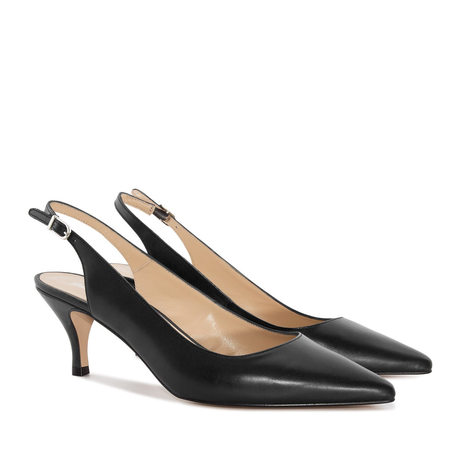 Andres Machado Fine Toe Slingback Shoes in Black Leather, 33 M EU/3 B (M) US