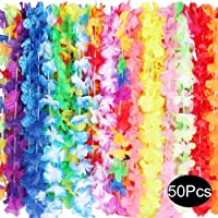 Outee Hawaiian Leis Silk Flower Leis Party Favors Bulk 50 Pcs Tropical Hawaiian Necklaces 25 Colors Luau Party Decorations Party Supplies for Kids Adults