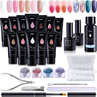Poly Nail Gel Kit, Ohuhu 12 Colors Nail Gel Kit Enhancement Builder with 4 Temperature Color Changing Extension, 8…