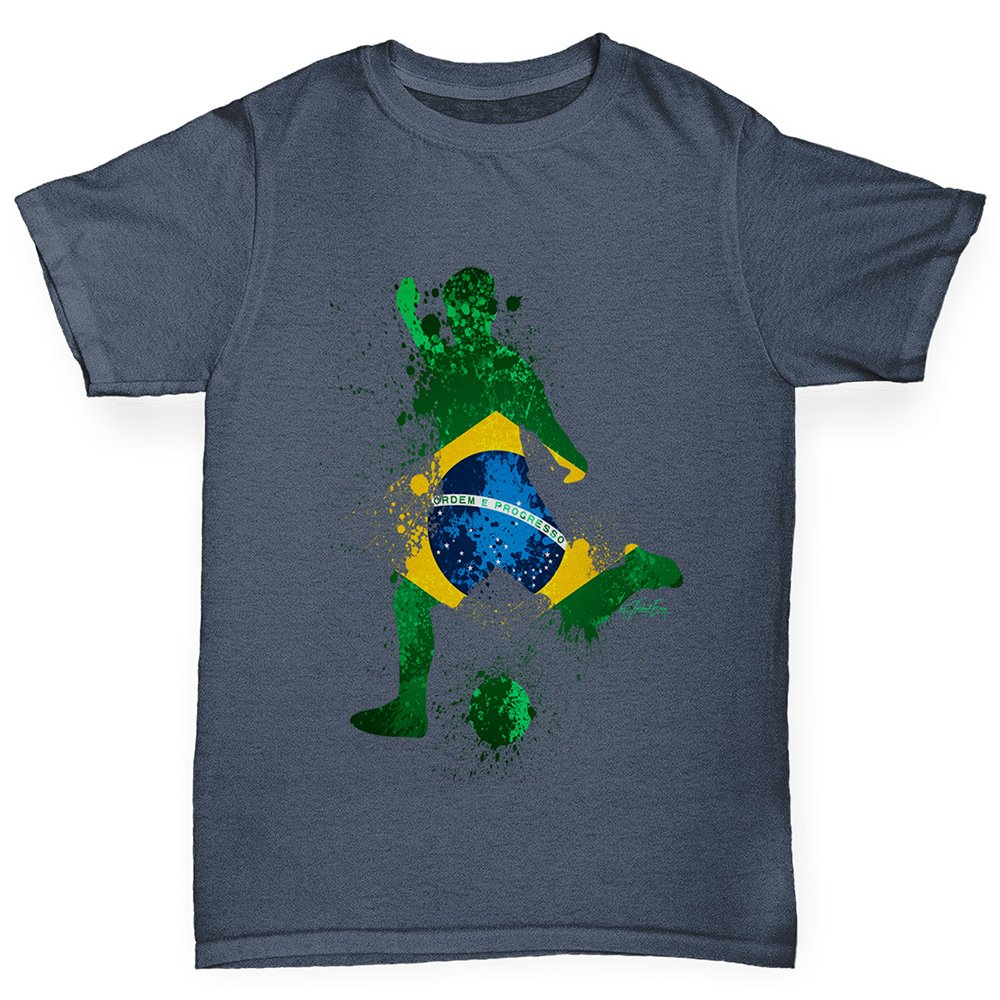 TWISTED ENVY Boys Funny tee Shirts Football Soccer Silhouette Brazil