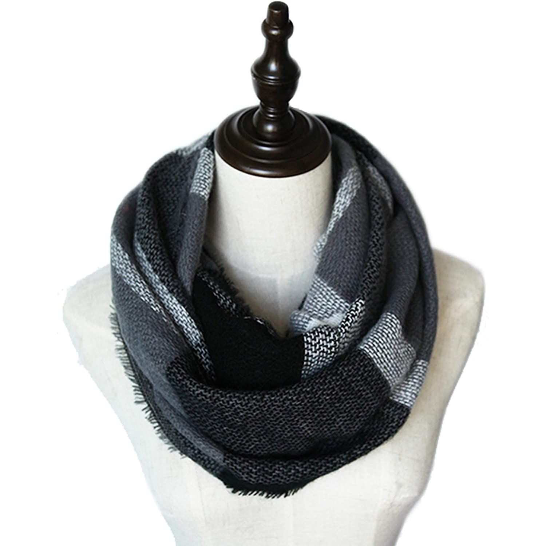 MissShorthair Soft Plaid Winter Scarf for Men Warm Tartan Infinity Blanket