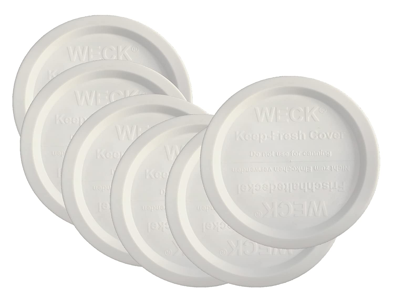 Weck Jar Keep Fresh Plastic Lids, 6 PACK (Small = 60mm). Fits models 080, 755, 760, 762, 902, 763, 764, 766, 905, 975, 995