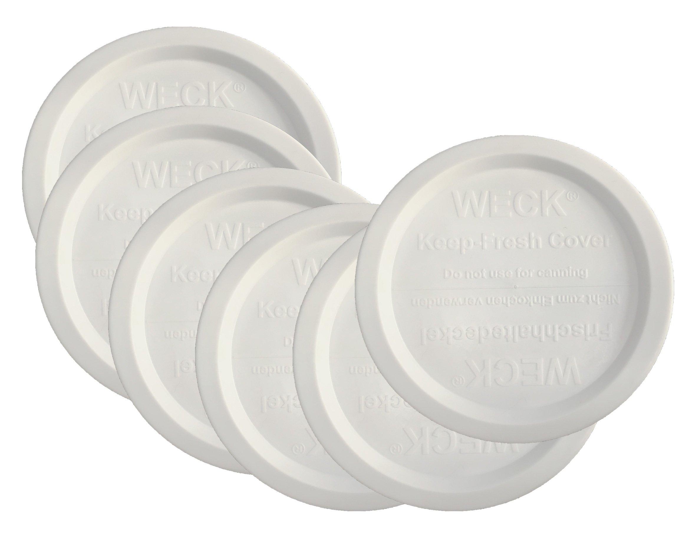 Weck Jar Keep Fresh Plastic Lids, 6 PACK (Medium = 80mm) Fits models 900, 976, 746, 901, 996, 958