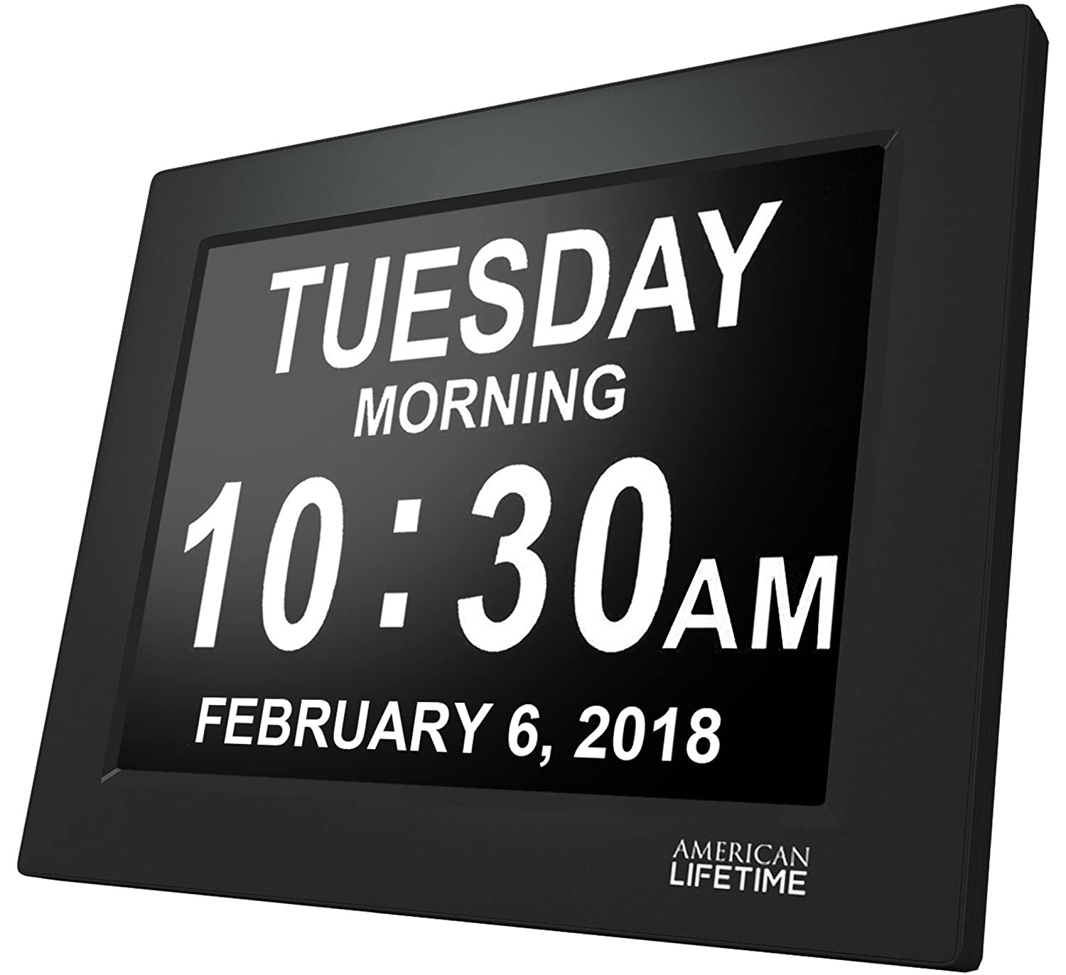American Lifetime [Newest Version] Day Clock - Extra Large Impaired Vision Digital Clock with Battery Backup & 5 Alarm Options (Black) DCC