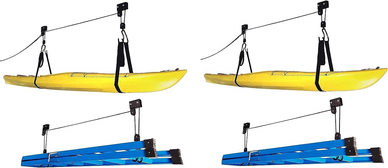 RAD Sportz Kayak Hoist Quality Garage Storage Canoe Lift with 125 lb Capacity Even Works as Ladder Lift Premium Quality