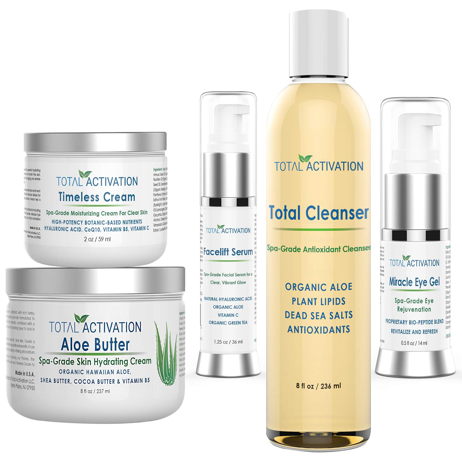 Total Activation 5-Step Skin Care System, Daily Essential for Men and Women, for Sensitive Skin, Dry or Oily Skin, for a Glowing Balanced Skin, Lightens Dark Spots, Restore Elasticity & Hydrate Skin by Total Activation