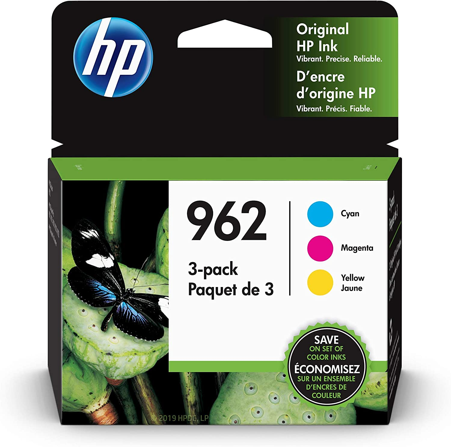 HP 962 | 3 Ink Cartridges | Cyan, Magenta, Yellow | 3HZ96AN, 3HZ97AN, 3HZ98AN
