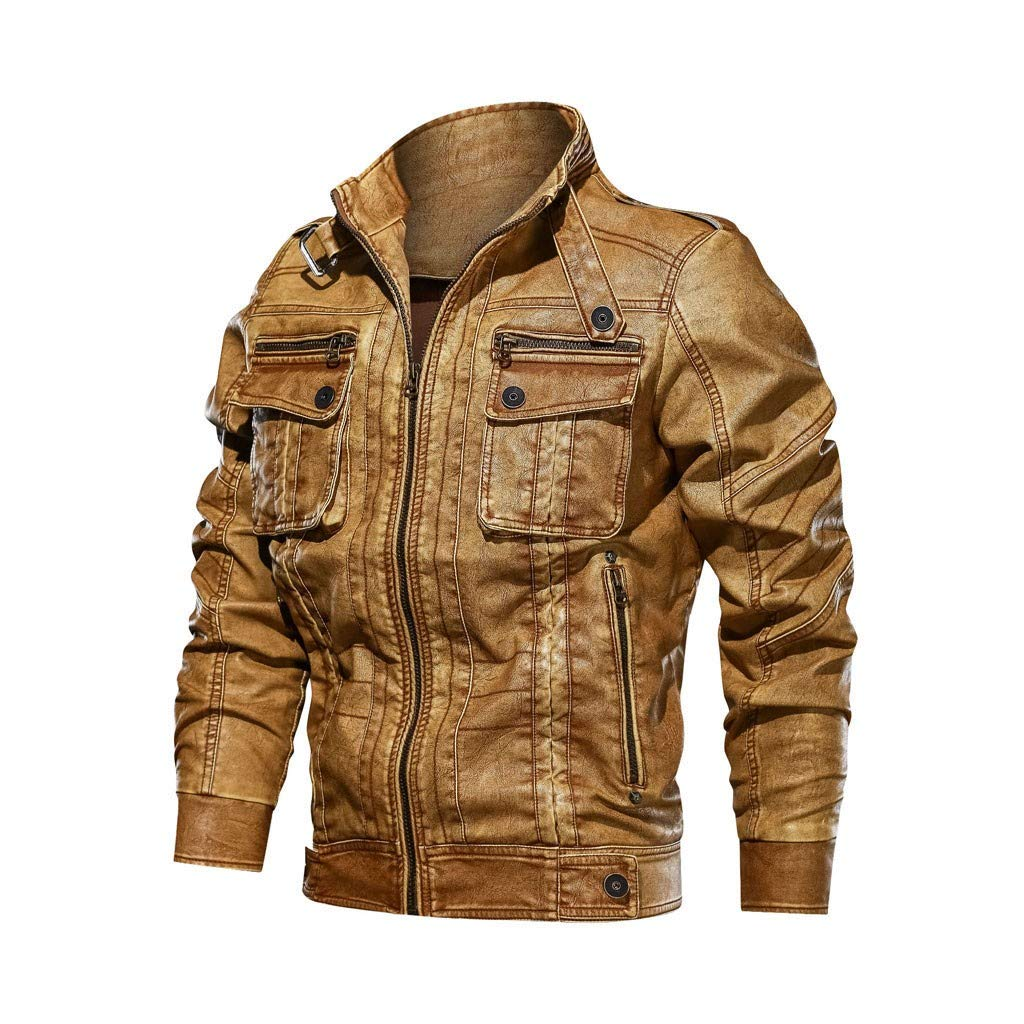 Men's Winter Vintage Solid Zipper Long-Sleeve Coat Imitation Leather Distressed Stand Collar Jacket Coat by SSDXY