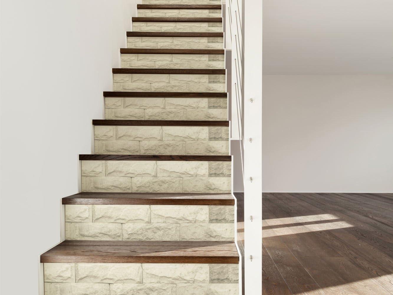 Vinilo para Escaleras Imitación Textura Piedra Blanca | 16 Pegatinas Adhesivas Para Paredes Escaleras | Vinilo Decorativo | Varias Medidas 90 x 18 cm | Escaleras | Decoración Escaleras Huellas Contrahuellas: Amazon.es: Hogar