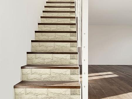 Vinilo para Escaleras Imitación Textura Piedra Blanca | 16 Pegatinas Adhesivas para Paredes Escaleras | Vinilo Decorativo | 90 x 18 cm | Escaleras | Decoración Escaleras Huellas Contrahuellas: Amazon.es: Hogar