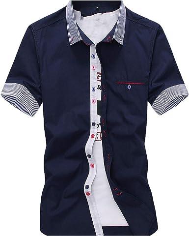 Clustor Camisa de Manga Corta, Informal, Ajustada, diseño ...