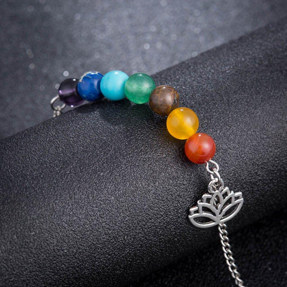 Wansan Chakra Bead Bracelets,Chakras 8mm Lava Rock Stone Bangle Oil Diffuser Aromatherapy Yoga Beads Bracelets Anklet for Men Women Kids