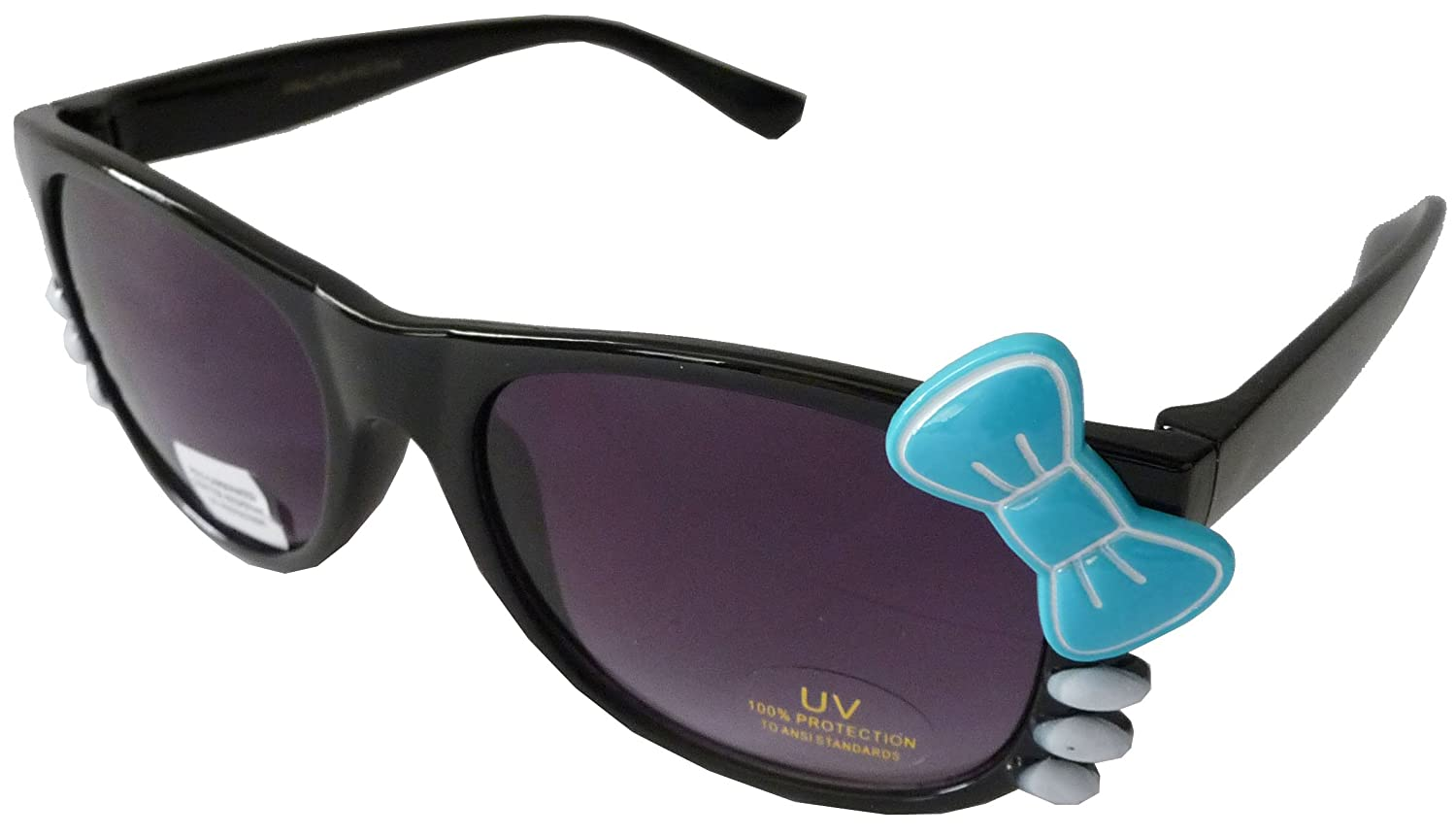 Sanrio Hello Kitty Style Inspired Wayfarer Sunglasses with Bow and Whiskers - Black Frame with Blue Bow