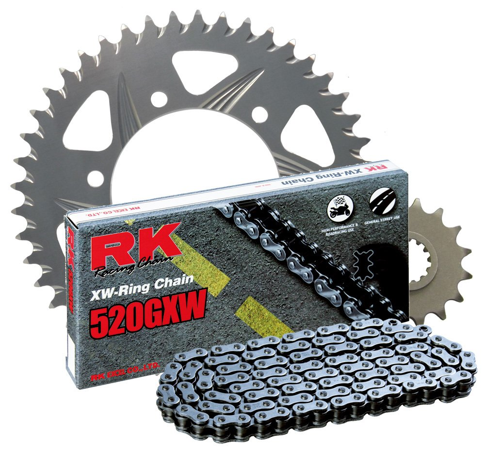 RK Racing Chain 3108-038R Silver Aluminum Rear Sprocket and 520GXW Chain 520 Race Conversion Kit
