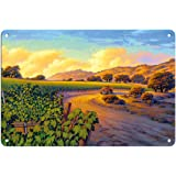 Pacifica Island Art - 葡萄园日落 - 葡萄*乡艺术 Kerne Erickson - 精美艺术印刷品 多种颜色 8 x 12 in Tin Sign MTSACS158NL