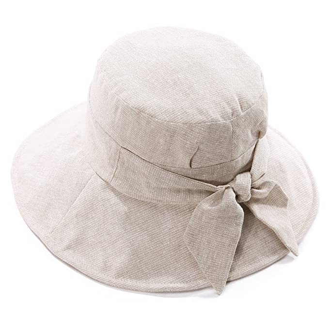 03c88812978 SIGGI Bucket Boonie Cord Fishing Cap Summer Sun Hat Linen Bowknot Wide Brim  for Women Beige