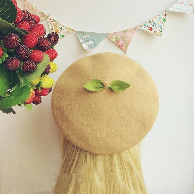 Wool Felt Beret,Sika Deer Antlers Handmade Painter Hat Creative Cute Birthday Gift Sweet Lolita Princess Childlike Brown Caramel 51-58Cm,S