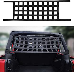 JeCar Mesh Roof Cargo Net Roof Hammock Exterior Accessories for 1987-2020 Jeep Wrangler YJ TJ LJ JK JK JL JL JT, Black