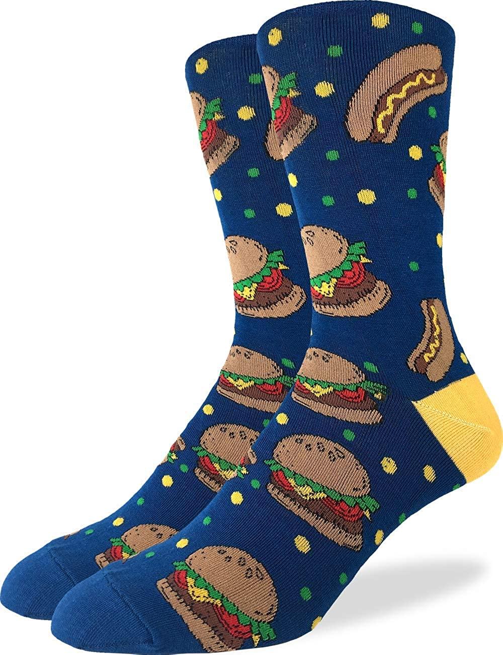 Good Luck Sock Men's Extra Large Burgers & Hotdogs Socks, Size 13-17, Big & Tall