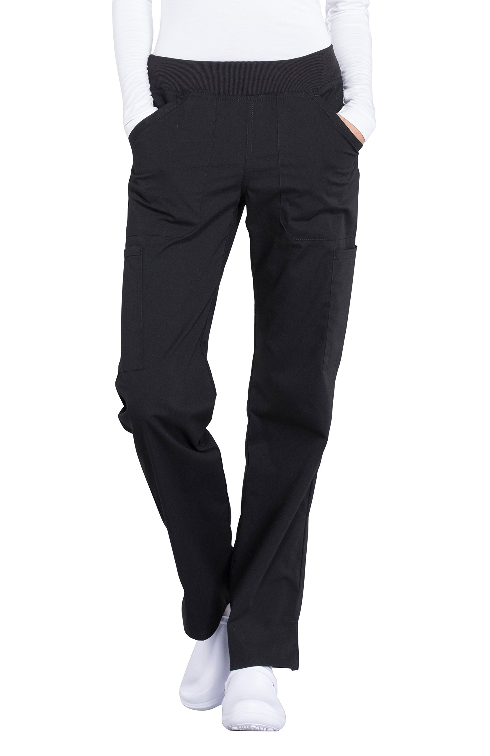 Cherokee Professionals by Workwear Women's Elastic Waistband Pull On Cargo Scrub Pant Small Petite Black