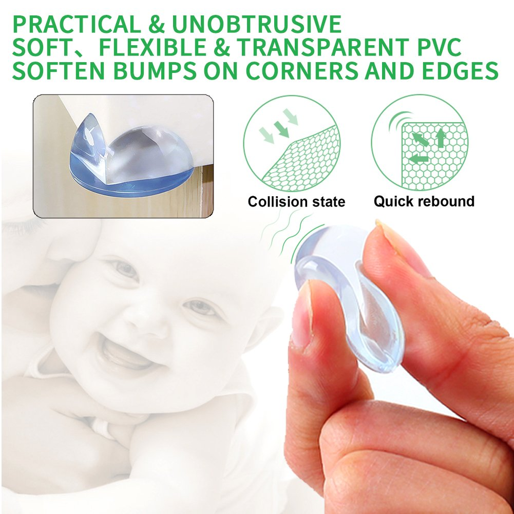 HOTSO Corner Protectors for Kids Transparent Table Desk Corner Edge Safety Guards Protector Cover Proofing Cushion Caring Pad for Toddler Infant Kids Baby Child Round Ball-Shaped 12 Packs