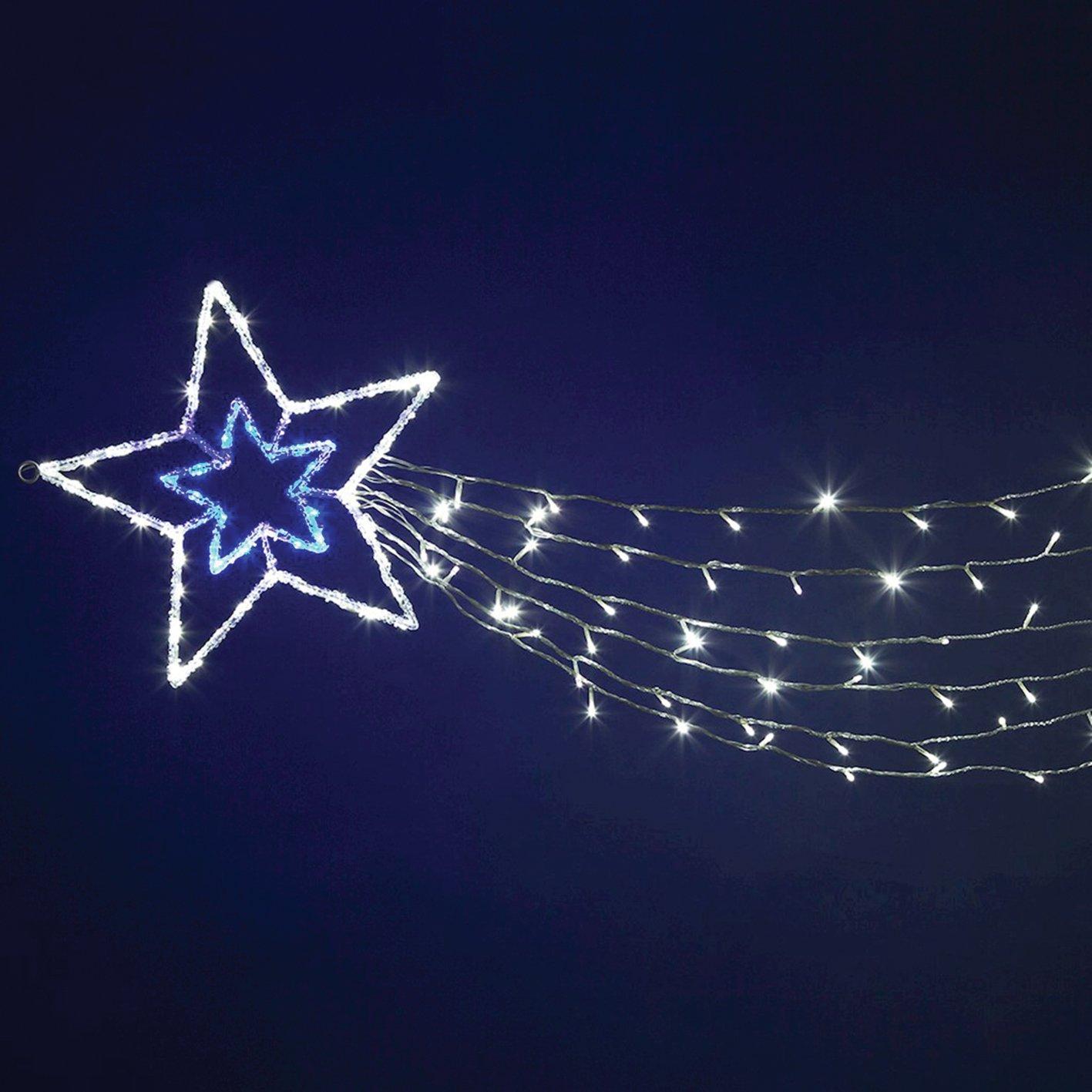 Estrella concé ntrica acrí lica con 6 tiras de cola, 180 cm, 150 LED luz frí a y azul, intermitente, estrellas luminosas, decoració n navideñ a, luces de Navidad Estrella concéntrica acrílica con 6 tiras de cola Luminalpa