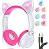 GBD Cat Ear Kids Wireless Headphones with Mic for Girls Boys Teens School Travel Tablet Holiday Birthday Gifts Led Glowing He